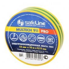Изолента ПВХ желто-зеленая 15мм 20м Safeline (9363)