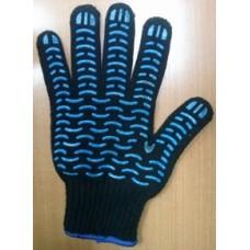 """Перчатки Х/Б с ПВХ, 5 ниток, 7,5 класс, чёрные волна """"Вектор плюс"""""""
